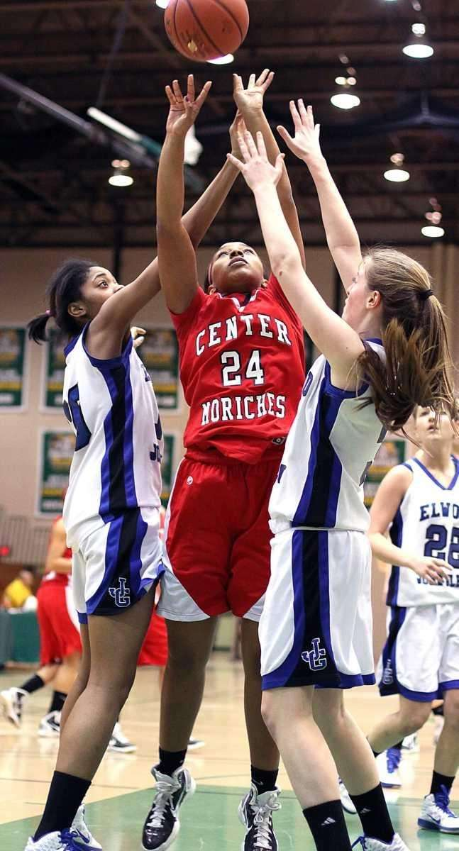 Center Moriches Venessa Lewis goes for the shot