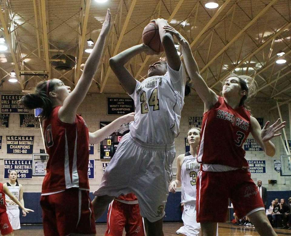 Symone Kelly #24 of St. Anthony's attempts a