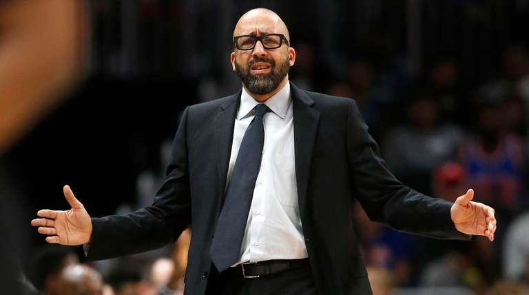 Knicks coach David Fizdale reacts during the first