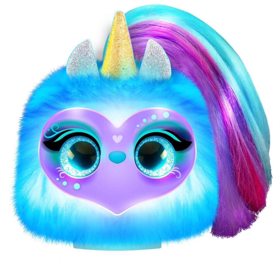 By placing the interactive unicorn pom-pom pet on