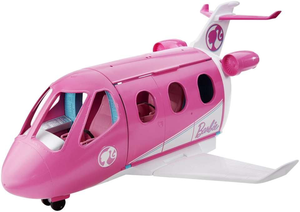 Barbie's bright pink plane features reclining seats for