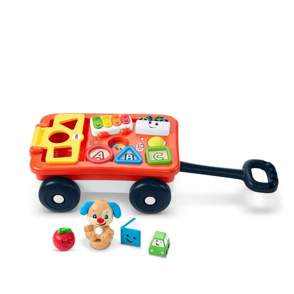 This interactive wagon features motion sensors that reward