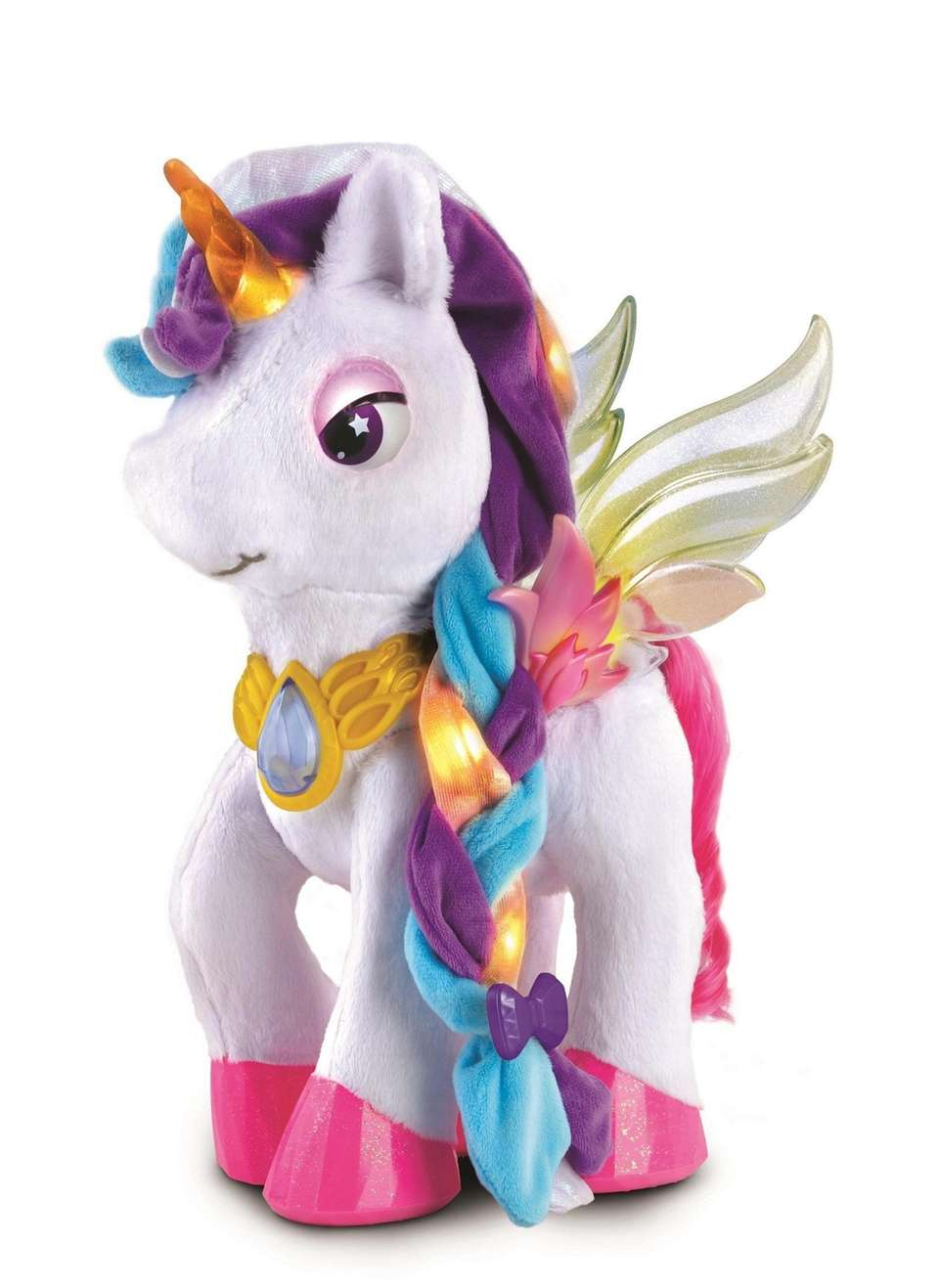 Myla, a robotic unicorn, glitters with lights when
