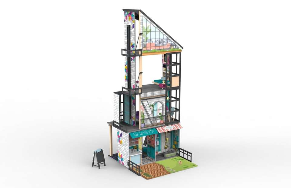 With its slim design, this four story dollhouse