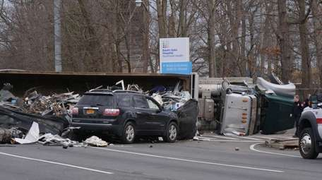 The eastbound lanes of Sunrise Highway were closed