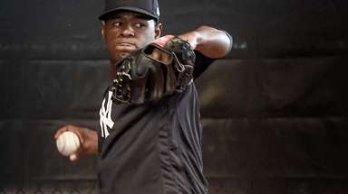 New York Yankees Luis Severino throws a bullpen