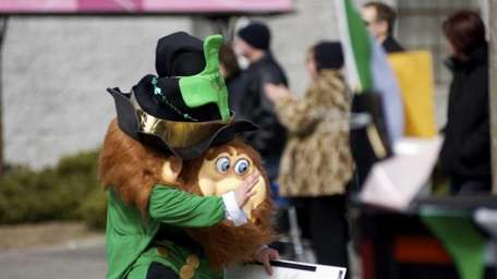A leprechaun marches in the St. Patrick's Day