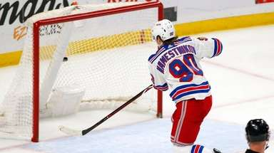Rangers forward Vladislav Namestnikov (90) puts the puck