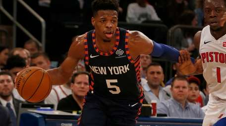 Dennis Smith Jr. #5 of the New York