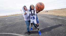 Amaya Williams and her mom Tanya play around