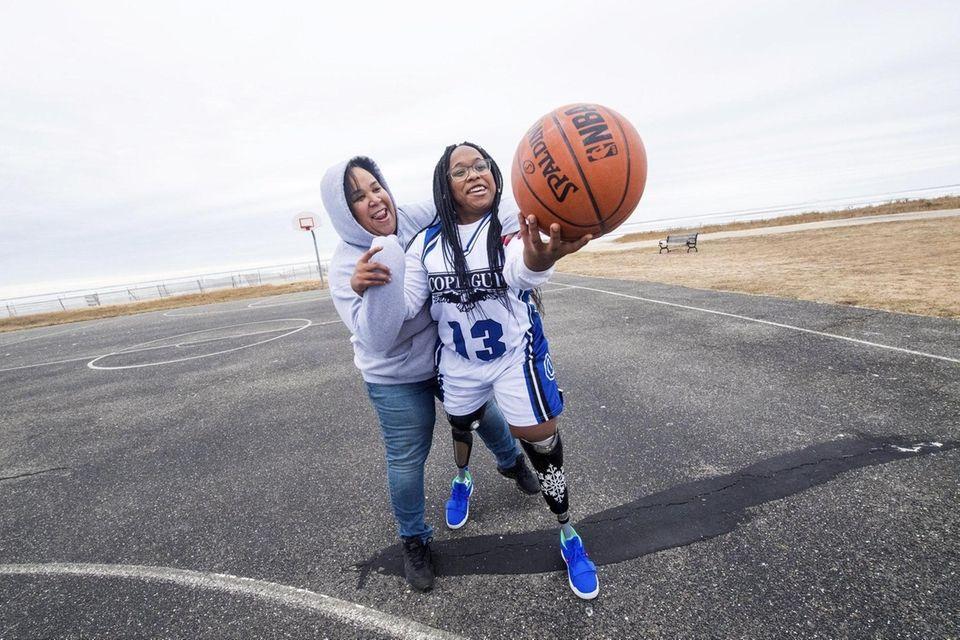 Amaya Williams and her mom Tanya play around