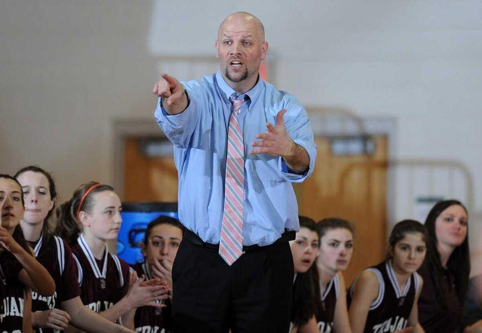 Garden City head coach Anthony Sparacia reacts to