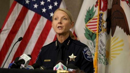 Aurora Police Chief Kristen Ziman speaks at a