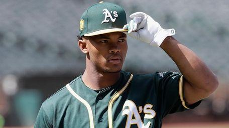 Oakland Athletics draft pick Kyler Murray looks on