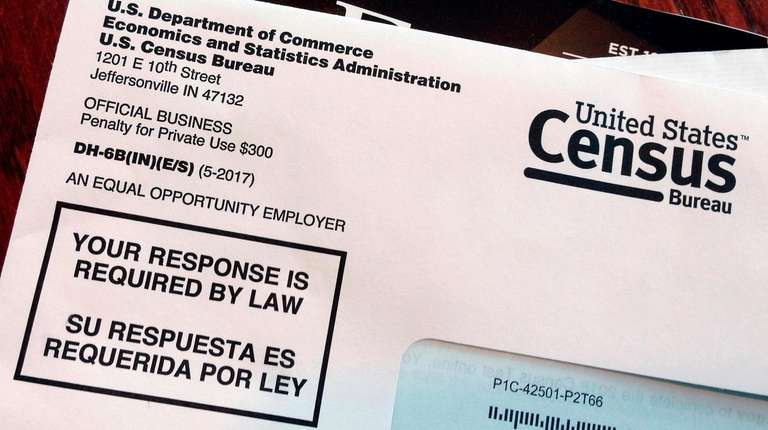 An envelope containing a 2018 census letter mailed