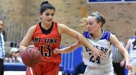 Brooke Cergol #13 of Mt. Sinai, left, gets