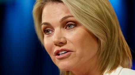 State Department spokeswoman Heather Nauert speaks during a