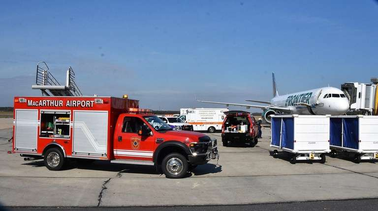 The scene at Long Island MacArthur Airport on
