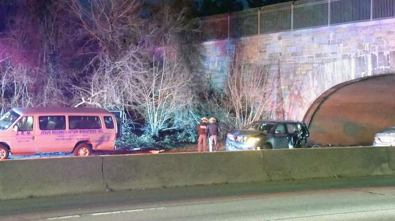 Police at the crash scene on the Southern