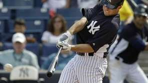 New York Yankees left fielder Brett Gardner hits