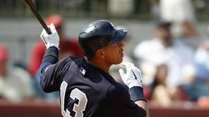 New York Yankees' Alex Rodriguez (13) hits a