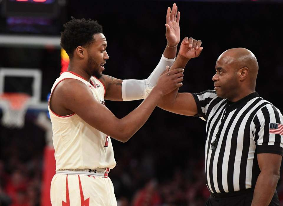 St. John's guard Shamorie Ponds questions a call
