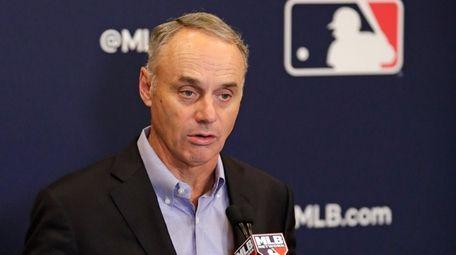 Rob Manfred, commissioner of Major League Baseball, speaks