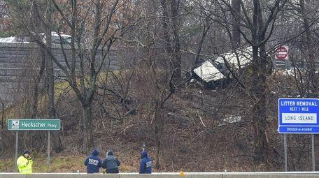 Police at the crash scene in Islip Terrace
