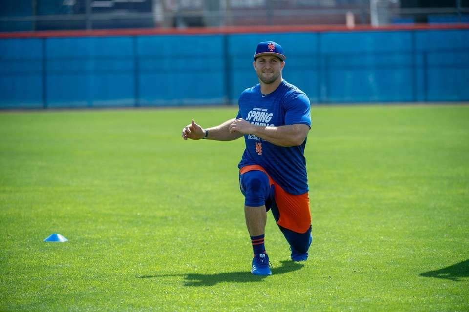 New York Mets player Tim Tebow during a