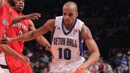 Seton Hall's Jordan Theodore drives to the basket