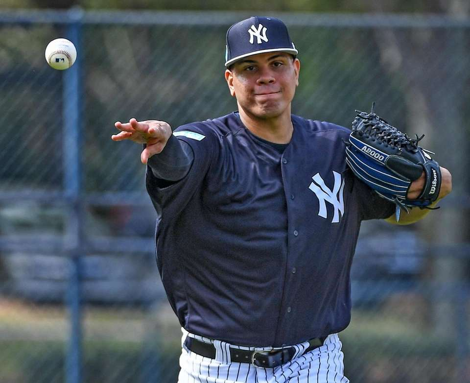 New York Yankees pitchers Dellin Betances takes infield