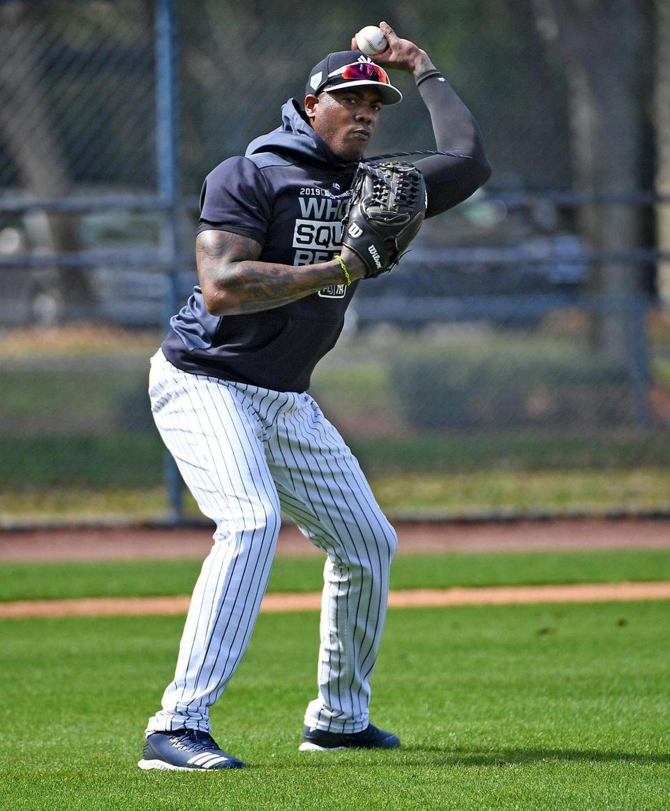 New York Yankees pitchers Aroldis Chapman takes infield