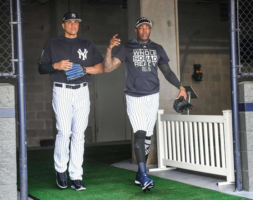 New York Yankees pitchers Dellin Betances and Aroldis