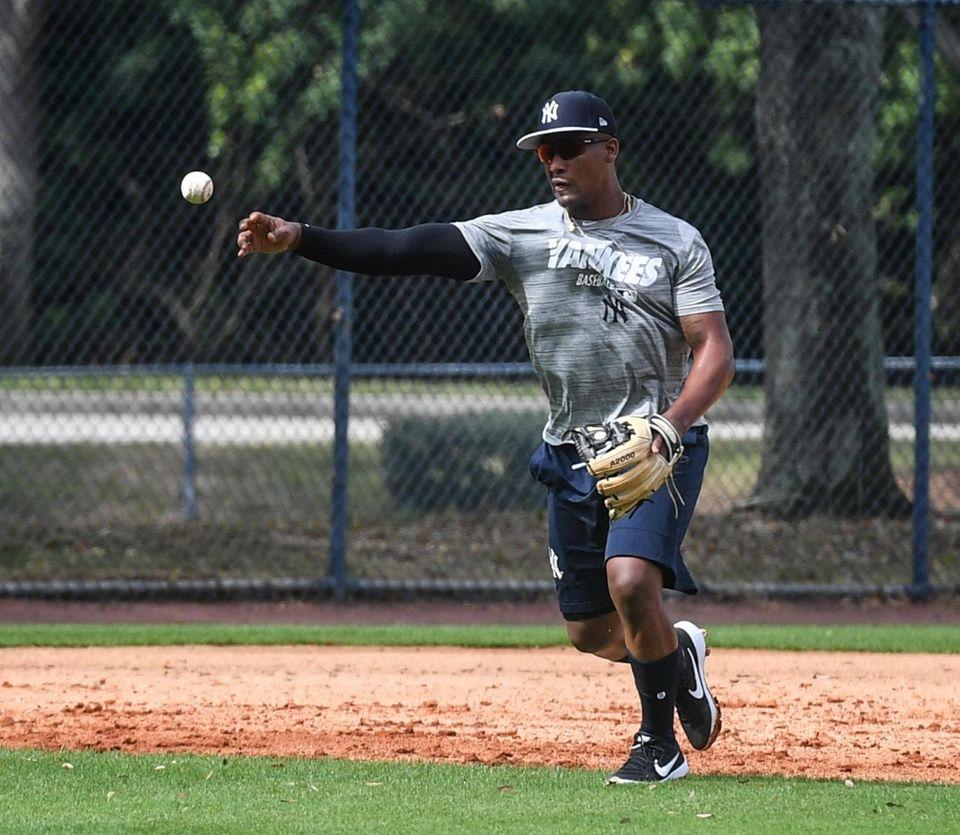 New York Yankees Miguel Andujar takes infield drills