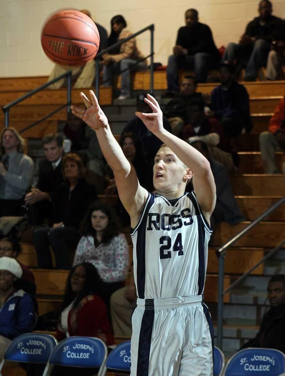 Ross' Dylan Stilin (24) shoots a three pointer