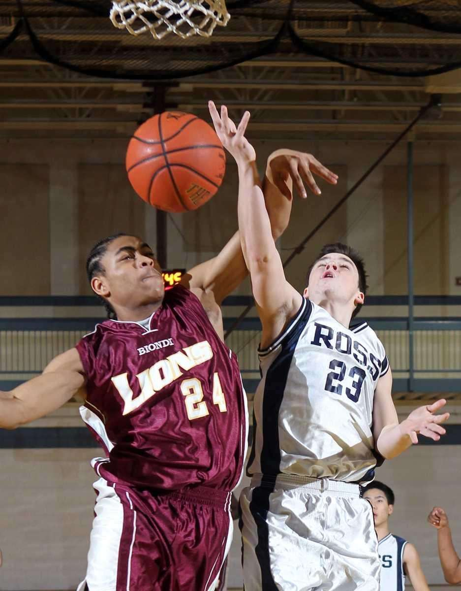 Ross' Liam Chaskuy (23) is fouled hard by