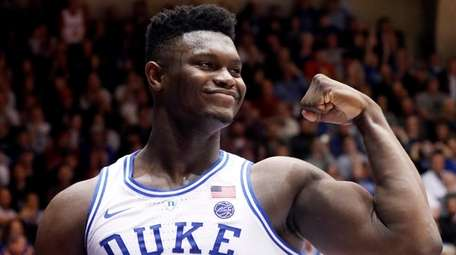 Duke's Zion Williamson celebrates after he scored against