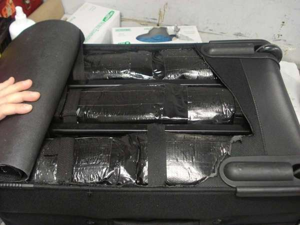 Cocaine stuffed into a piece of luggage was