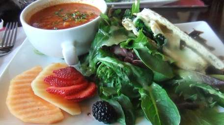 My panini and soup combo at Brownstones, Amityville