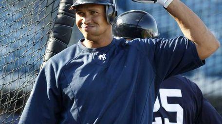New York Yankees Alex Rodriguez gestures after taking