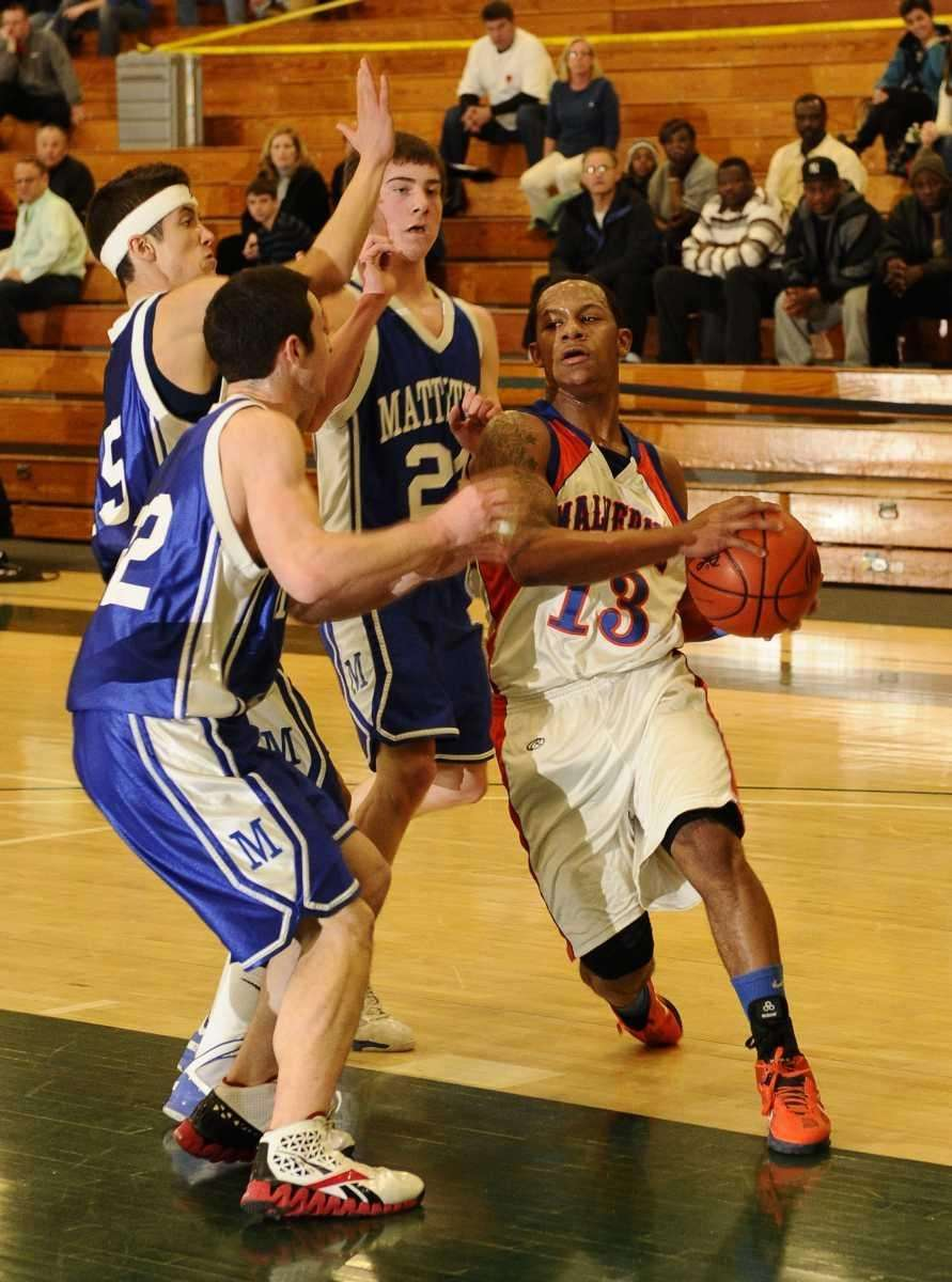 Malverne's Cory Alexander drives to the basket against