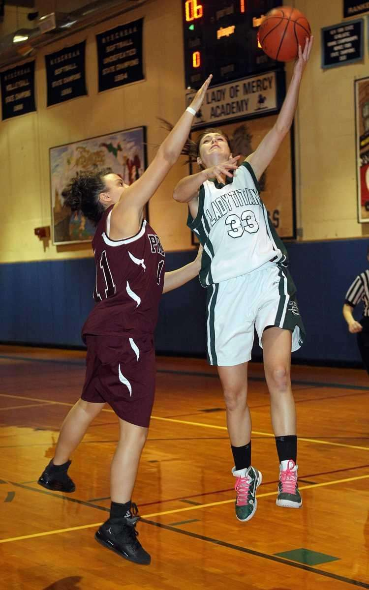 Holy Trinity's Kristen Korzevinski (33) with the layup