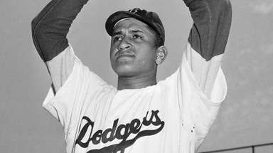 Brooklyn Dodgers pitcher Don Newcombe in New York