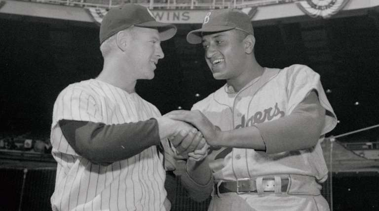 Whitey Ford of the Yankees and Don Newcombe