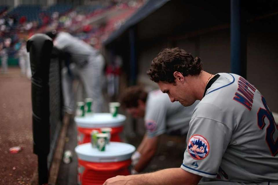 New York Mets' Daniel Murphy reacts in the
