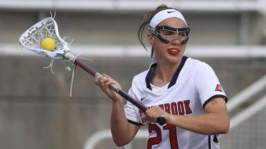 Stony Brook's Taryn Ohlmiller looks to pass the