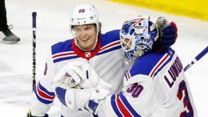 The Rangers' Vladislav Namestnikov congratulates goaltender Henrik Lundqvist