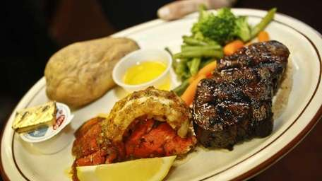Steak with lobster tail at J&R's Steak House