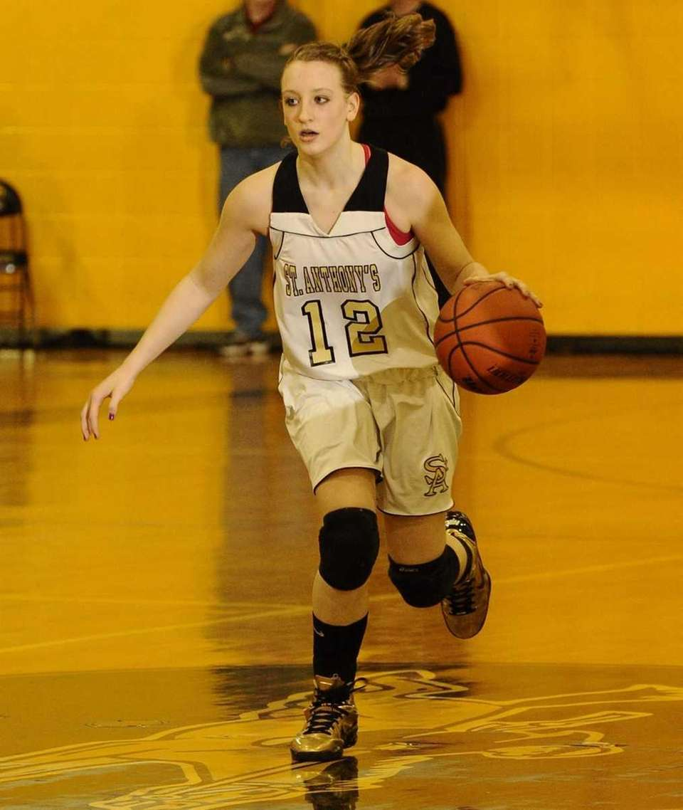 St. Anthony's Rebecca Musgrove brings the ball downcourt
