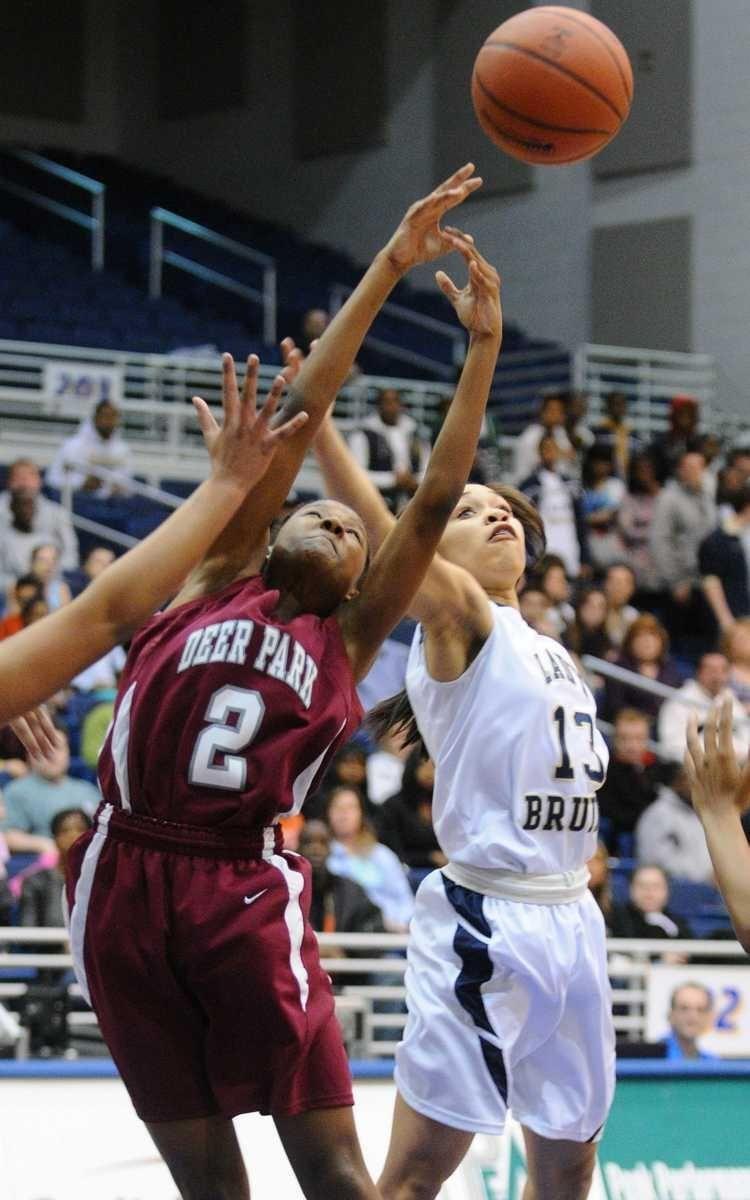 Deer Park High School #11 Andrea Desvignes, left,